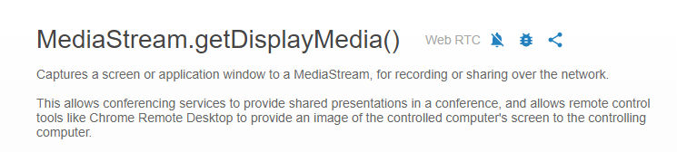 Remote desktop control using MediaStream getDisplayMedia
