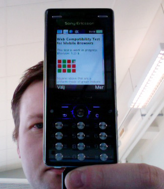 Screenshot of native browser on Sony Ericsson K810i