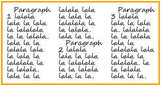 In a multi-column element, several paragraphs of text flow into three height-balanced columns.