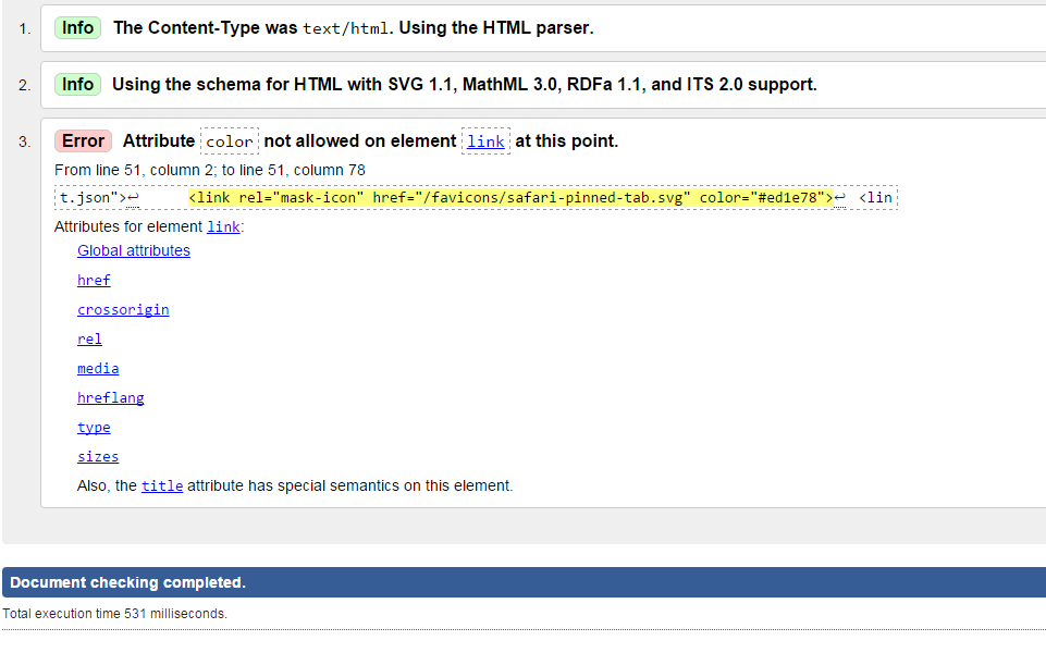 Re: Atribute error on element link used for safari favicon